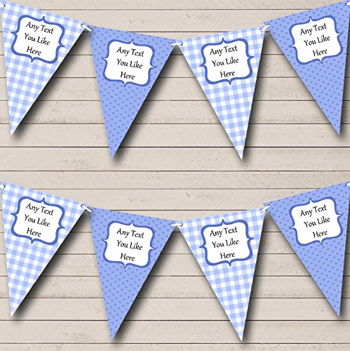 Blue Gingham and Polka Dot Welcome Home New Baby Bunting Banner Garland