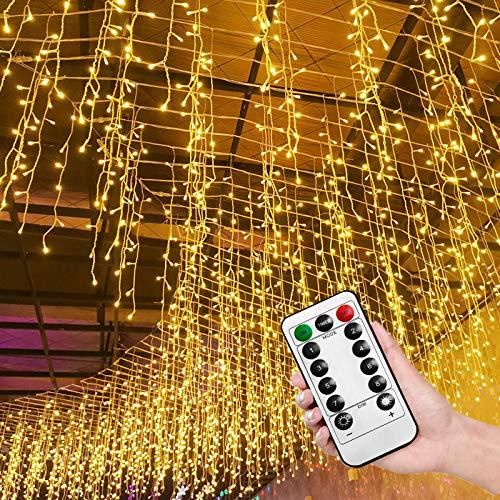 HENGMEI 15m 600 LEDs Lichterkette Lichterwand Lichtervorhang Warmweiß mit Fernbedienung 8 Leuchtmodi IP44 Wasserfest Weihnachtsbeleuchtung Weihnachtsdeko Lichterdeko Innen und Außen