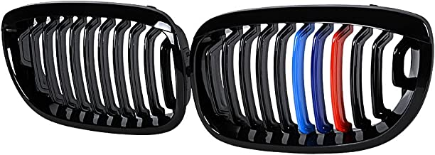 Glossy Black M-Color Front Kidney Grille Compatible with 2003-2006 E46 325Ci 330Ci Coupe Convertible