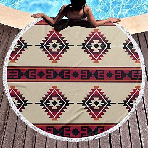 Große runde Strandmatte,Daryl Dixon Poncho Pattern Throw Pillow Printed Das 59 Zoll große runde Strandtuch eignet sich für Picknicks im Freien,Strandmatten,Schwimmbäder,Yogamatten und Tischdec