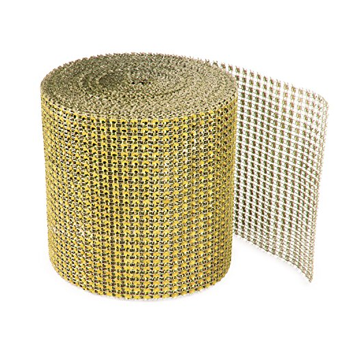Gold Diamond Sparkling Rhinestone Mesh Ribbon for Event Decorations, Wedding Cake, Birthdays, Baby Shower, Arts & Crafts, 4.75