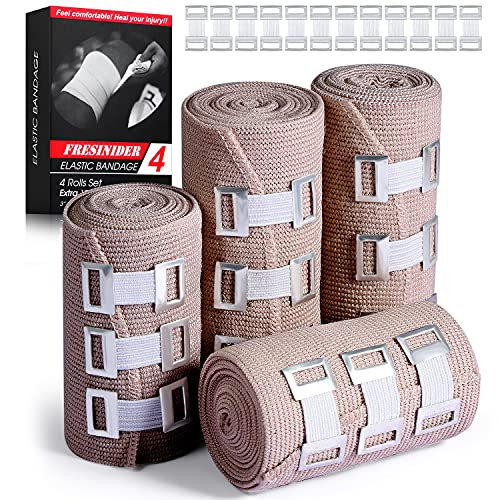 FRESINIDER Elastic Bandage Wrap 4 Pack(2 X 3' + 2 X 4' Wide Rolls) + 24 Clips | Stretch Compression Bandage Stretches up to 15ft | Ideal for Medical, Sports, Sprains, Calf, Ankle & Foot