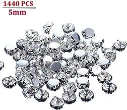 Jyukan 1440 Pcs Sew on Crystals Glass Rhinestones Silver Settings Rhinestone Embellishments for Clothing Wedding Dress (5mm/0.19 inch)