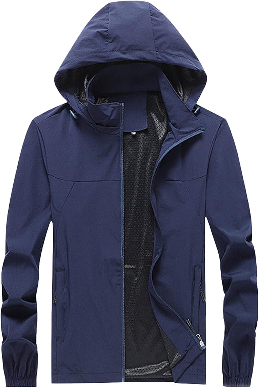 Men's Windbreaker Zipper Detachable Hoodie Waterproof Raincoat Outdoor Thin Plus Size Coat Jacket Blouse with Pockets