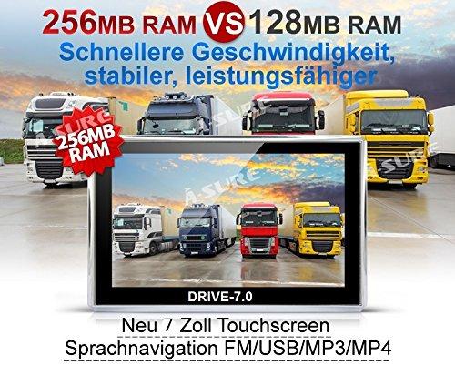 Drive-7.0 Truck und Camper GPS Navigationsgerät 7 Zoll Display. 47 Länder Europas, HQ TMC Verkehrsfunkempfänger, lebenslange Kartenupdates. Fahrspurassistent