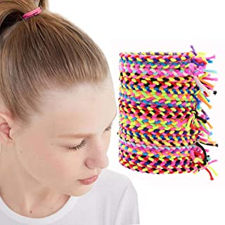Elastic Hair Ties 100Pcs Hair Braided Scrunchies Stretch Bands No Crease Rope Ponytail Holder Hair Accessories for Girls W...