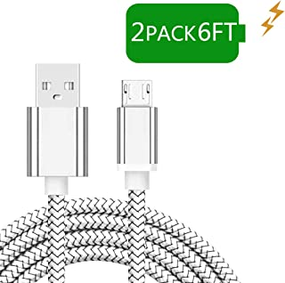 Android Micro USB Charger Cable, 2Pack 6FT Tough Fast Quick Charging Cord for Phones and Tablets Samsung Galaxy J3/J7 Crown Star Prime, S6/S7 Edge Plus Active, Note 5/4,LG Stylo 3 G4,Moto G4 G5