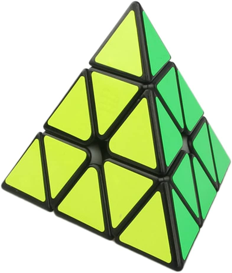 Magic Pyramid Speed Cube Triangle Carbon Fiber Sticker Twisty Puzzle for Kids