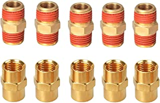 YOTOO Solid Brass Air Hose Fittings, Male and Female Couplings 1/4 inch x1/4 inch NPT with Storage Case, 10-Piece Packed