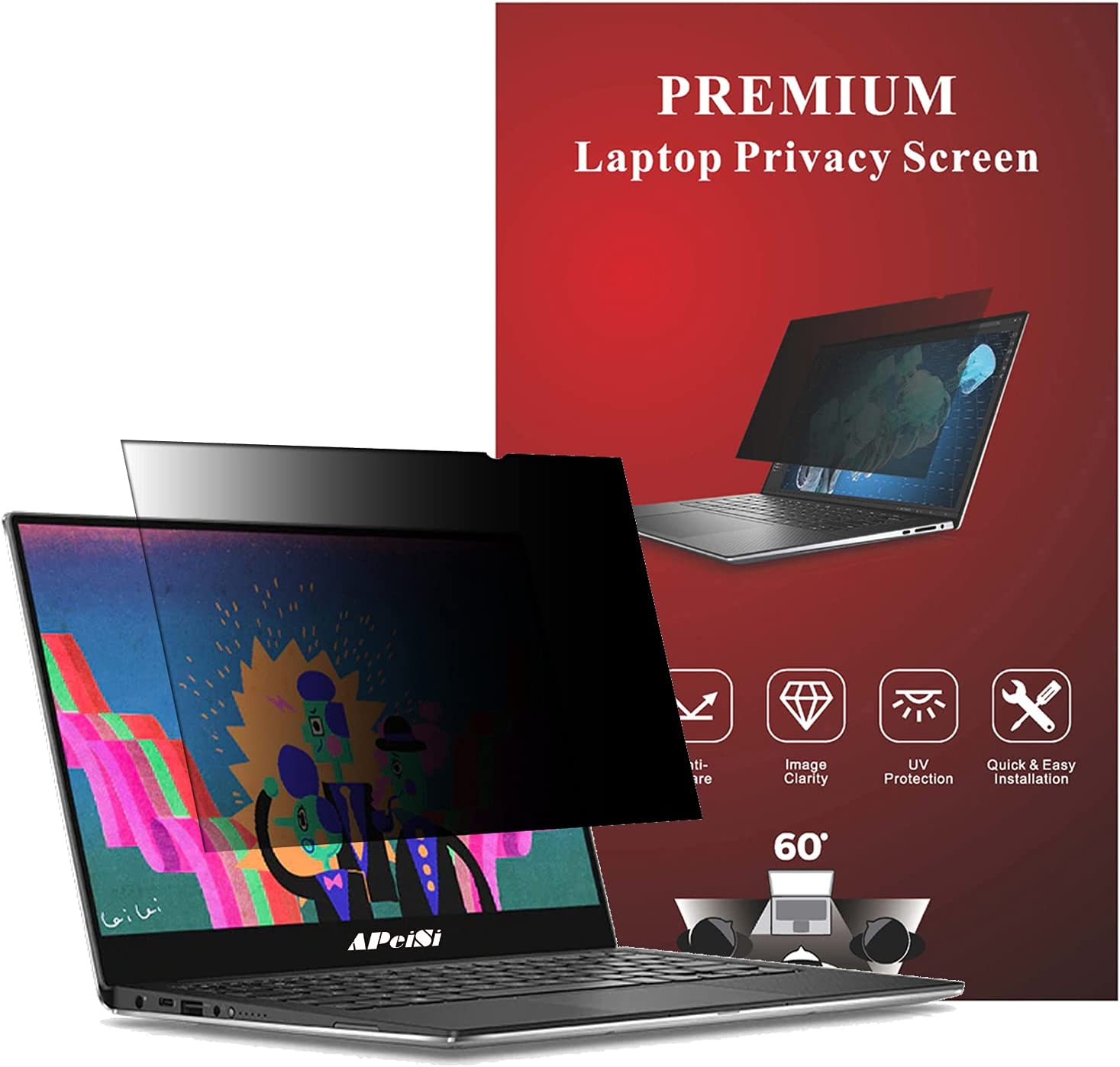 APeiSi 14 Inch Laptop Privacy Screen Filter for 16:9 Widescreen Computer Monitor Anti-Glare, Anti-Blue Light, Blocks 97% UV – Matte or Gloss Finish Privacy Filter Protector