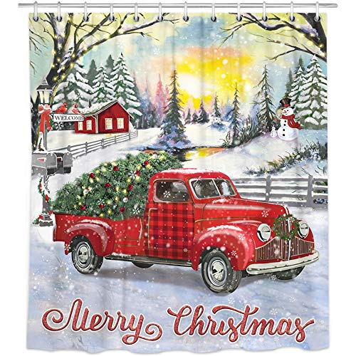 Bonsai Tree Christmas Shower Curtains, Vintage Red Truck Cloth Shower Curtains in Bath, Snowman Holiday Farmhouse Bathroom Shower Curtains Rings Winter Rustic Home Decorations Gifts 72x72 Inches