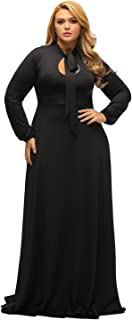 Women's Vintage Long Sleeve Plus Size Evening Party Maxi Dress Gown