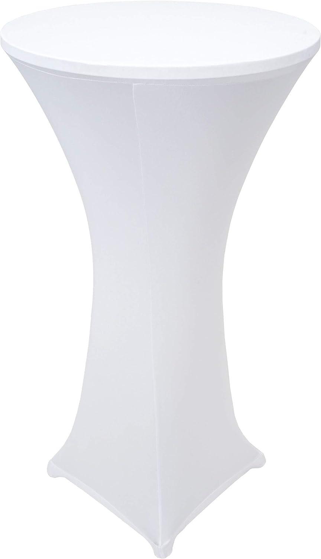 Mendler Alu-Stehtisch inkl. Husse, Bistrotisch, hhenverstellbar klappbar  Stretch-Husse wei