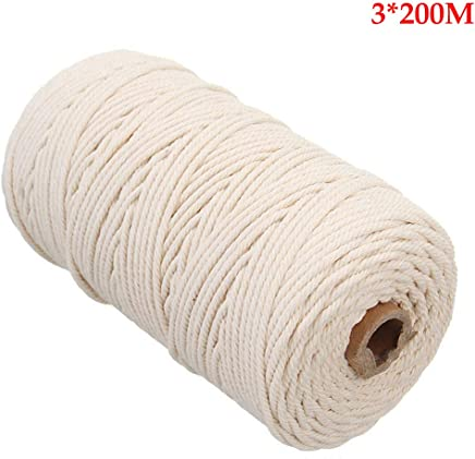 ロープタペストリークラフト文字列壁掛けマクラメ職人綿diyツイストカーテン手作りロング編み物(3×200メートルベージュ)