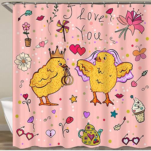KGSPK Duschvorhang,Huhn im Karikaturstil Zwei Vögel auf der Hochzeitskarte,Wasserfeste Bad Vorhang aus Polyestergewebe mit 12 Haken Duschvorhang 180x180cm