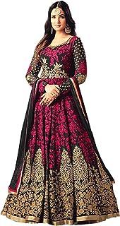 5bff194291 Fast Fashions Women's Semi Stitched Taffeta Silk Anarkali Gown (Free  Size_Pink&Green)