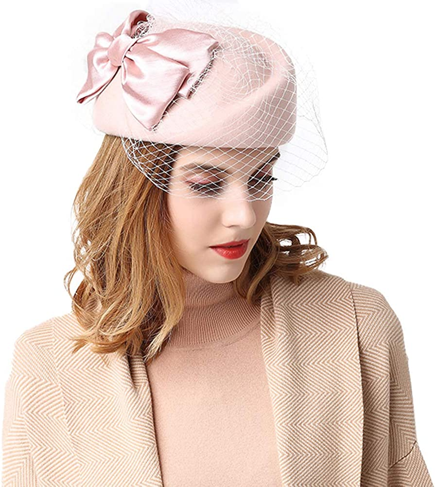 F FADVES Pillbox Hat for Women with Veil Vintage Fascinator Party Hat
