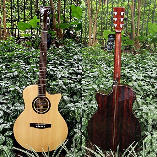 SUNXK Furnier Klasse Klasse AA 41-Zoll Gitarrenballade Oberfläche durch niedrigen Fichte Ebenholz Gitarren-Akkord-Abstand (Color : Missing Angle, Size : 41 inch)