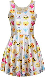 Celewe Women's Girls 3D Digital Emoji Print Skater Pleated Dress