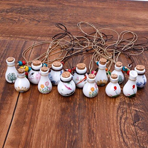 QIANGU Colgante colgante, diseño de pájaros de la suerte con botella de perfume para mujer, joyería de cerámica