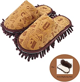 Selric Alphabet Letters Microfiber Chenille Washable Mop Slippers Coffee, Detachable Mopping Shoes, Two Pairs of Mop Soles Included 10 1/4