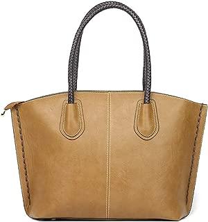 Bags Shoulder Bag Top Handle Handbag Purses for Women Tote Bag Zip Satchel Girls PU Leather MacBook Shoulder Bags for Women (Color : Khaki)