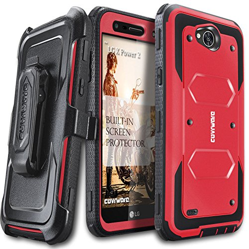 COVRWARE Aegis Series Case Compatible with LG X Power 2 / Fiesta 2 / X Charge / Fiesta LTE / K10 Power with Built-in Screen Protector Heavy Duty Full-Body Rugged Holster Armor Case Belt Clip, Red
