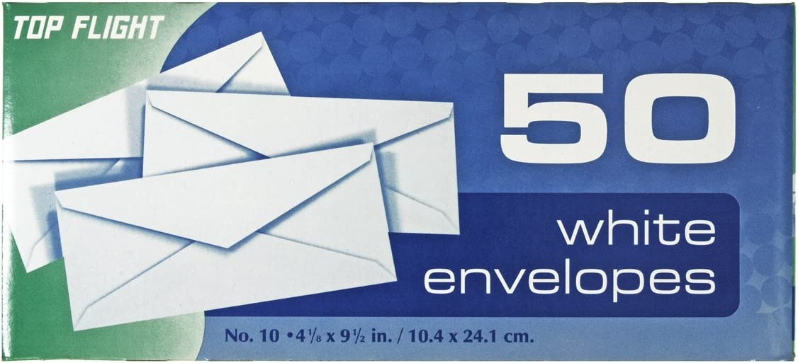Top Flight Columbus Mall #10 Boxed Purchase Envelopes 50 Pack White