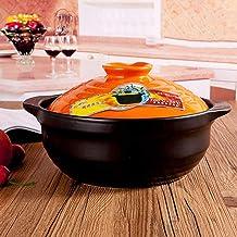 Low ceramic with lid Round ceramic pot Small clay pot Clay pot Heat-resistant soup pot Non-stick stew pot Healthy pot ONE ...