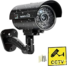 Surveillance Recorder Camera Dummy Waterproof Security CCTV Surveillance Camera with Flashing Red Led Light Outdoor Indoor...