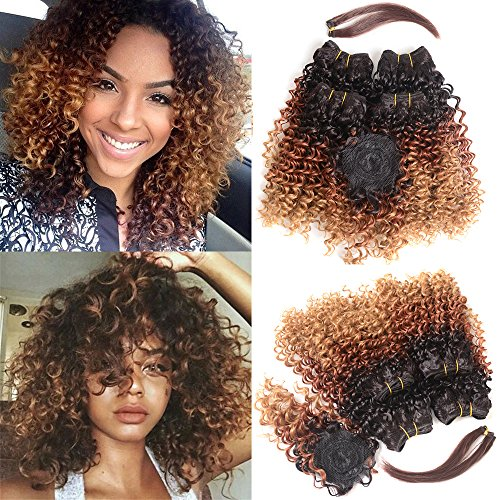 N&T Extensions Hair Ombre Color Kinky Curly 4 Bundles With Closure and Hair Bang Curly Weaves...