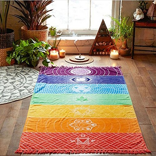 Bluelans Wandbehang, Regenbogen-Design, gestreift, Boho-Stil, auch geeignet als Strand-Handtuch / Yogamatte etc., Polyester, mehrfarbig, 150cm x 75cm/59.06
