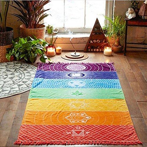 Yamalans Rainbow Stripe Bohemia Wall Hanging Blanket Tapestry Summer Beach Towel Yoga Mat