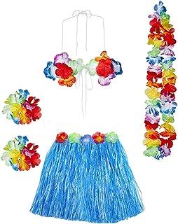 Gorse Hawaiian Dancer Grass Hula Skirt for Girls Elastic Costume Party Decorations Hawaiian Luau Costume Set for Party Favors