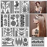 ZERHOK Tatuajes Temporales Adultos,11 hojas Etiqueta Engomada del Arte Corporal Pegatina Temporal de...