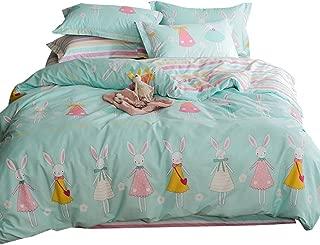 OTOB New Cartoon Rabbit Full Queen Cute Duvet Cover Sets for Kids White Blue 100% Cotton Reversible Comfortable 3 Pieces Kids Princess Bedding Duvet Cover Pillowcases Child Ballerina Bedding Sets