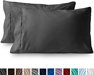 Bluemoon Homes Luxurious Hotel Style 100% Pure Egyptian Cotton 1000 -Thread-Count Solid, 2-Piece Pillowcase Set - Single Ply Soft Sateen Weave Premium Yarns (2 PC Standard Pillowcases, Elephant Grey)