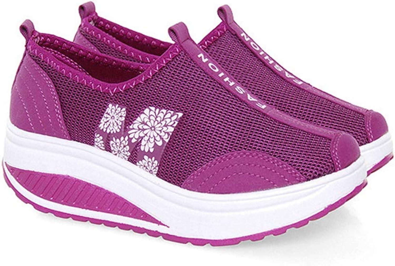 ASO-SLING Women's Air Mesh Wedge Sneakers Platform Lightweight Breathable Slip On Causal Sport Walking Swing shoes