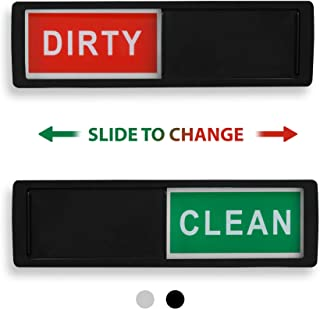 Clean Dirty Dishwasher Magnet - Non-Scratch Magnetic Black Signage Indicator for Kitchen Dishes with Clear, Bold & Colored Text - Easy to Read & Slide for Changing Signs (Black)