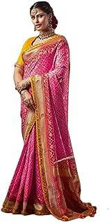 PINK Indian Woman Wedding Swarovski Pallu Saree Pure Soft Silk Bandhej Weaving Bridal Bandhani Sari Blouse 6246