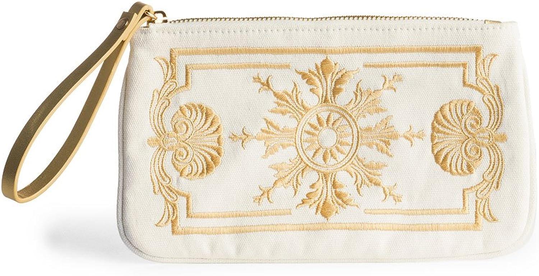 Wristlet Wallet Clutch Purse Handbag Small Purse White & gold Canvas 5.5  x 12