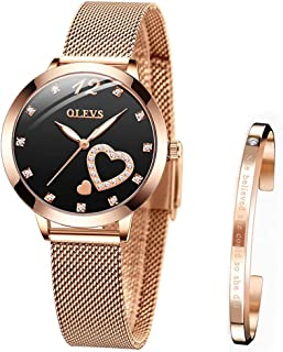 Verhux Wrist Watches for Women Fashion Waterproof Rose Gold Steel Strip Quartz Wristwatch Gifts for Ladies