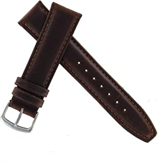 Hadley Roma MS881 16mm Short Watch Band Oiled Leather Brown Padded Mens