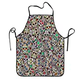 Mexican Sugar Skulls-Funny Design Apron Personalized Kitc Restaurant Pinafore with Neck Strap Chef Home Barber Kitchen Gardening