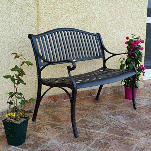 Lazy Susan – GRACE Gartenbank aus Aluminium, Antik Bronze (Beiges Kissen) - 3
