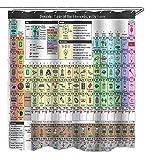 Periodensystem Duschvorhang, Duschvorhang Periodensystem der Elemente 180x200 cm inkl. Haken, Anti-Schimmel-Beschichtung, stabile Metallösen, 100 Polyester, ohne Blei
