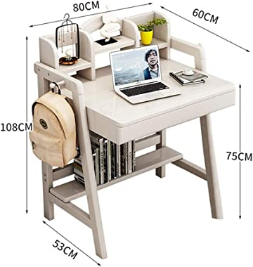 PUEEPDEE Childrens Table Wooden Learning Desk Child Table Great Gift for Girls and Boys –Best for 6 7 and 8 Year Olds(No Chair) Kids Activity Table (Color : White, Size : 60X80X75CM)