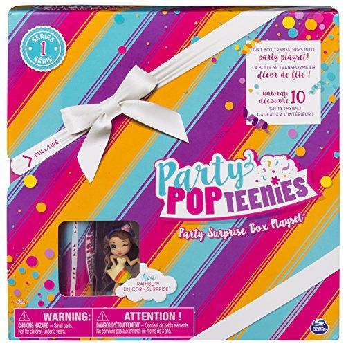 Party Popteenies Spinmaster – 6044091 Party Surprise Box – AVA – Spielset mit Minipuppe und Tierfreund