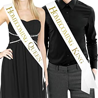 Homecoming King & Homecoming Queen Sash - White Satin Sash/Metallic Gold Print - Prom Decorations School Prom Class of 2018 Prom Sash Prom Formal Supplies