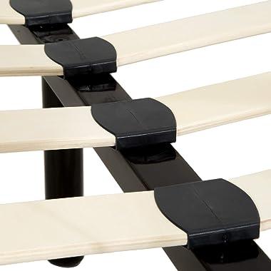 TecTake Lit Double Cadre de Lit 2 Places 200 cm x 140 cm en Métal Lit Adulte avec Sommier à Lattes Stable et Robuste Noir